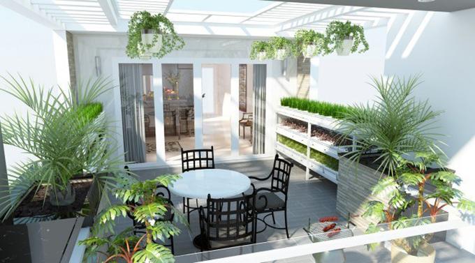 Không gian vườn sân thượng nhà ống nở hậu 3 tầng 4.5x16m phong cách hiện đại