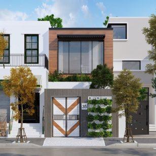 Mẫu thiết kế nhà phố 2 tầng mặt tiền 5m tại Ninh Bình