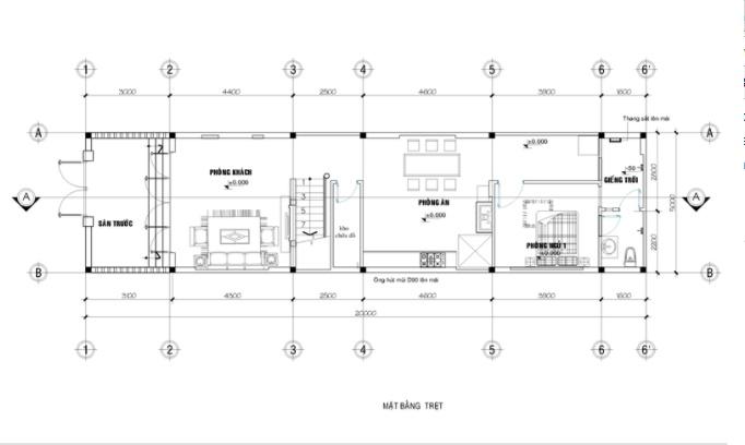 Mẫu thiết kế nhà ống 2 tầng 5x20m đẹp - mặt bằng tầng 1
