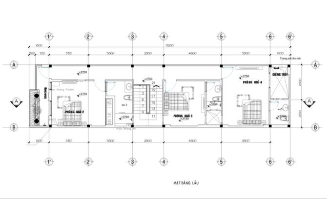 Mẫu thiết kế nhà ống 2 tầng 5x20m đẹp - mặt bằng tầng 2