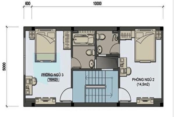 Mặt bằng công năng mẫu thiết kế nhà ống đẹp 2 tầng mái thái - 2