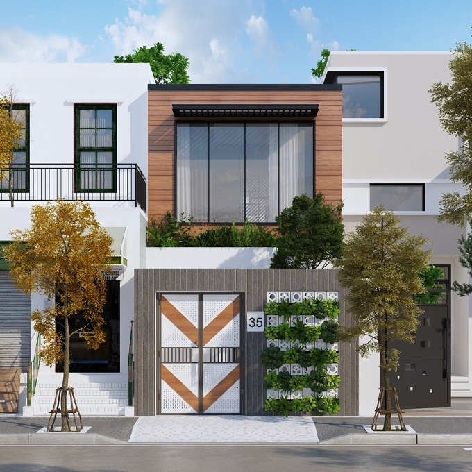 mẫu thiết kế nhà phố 2 tầng