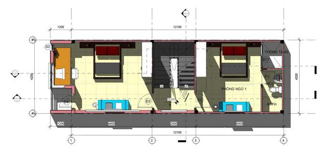 Mẫu thiết kế nhà ống 3 tầng hiện đại diện tích 4,2x12m 3