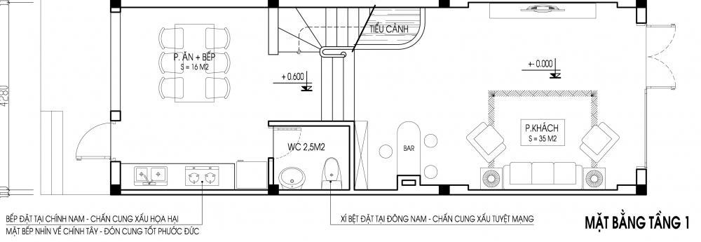 Mẫu thiết kế nhà ống 3 tầng hợp phong thủy. 1