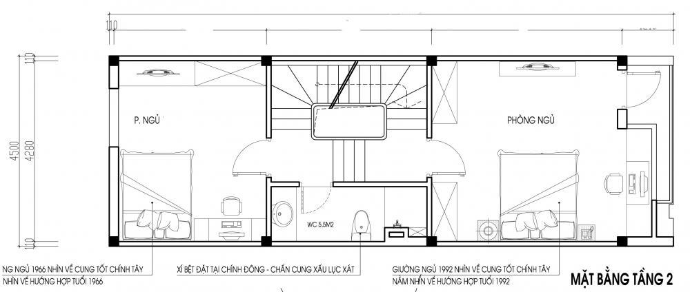 Mẫu thiết kế nhà ống 3 tầng hợp phong thủy. 2