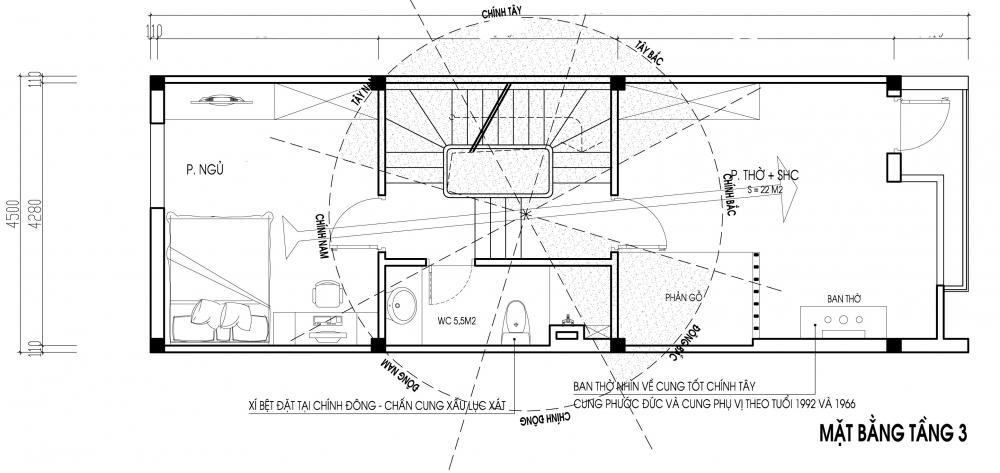 Mẫu thiết kế nhà ống 3 tầng hợp phong thủy. 3