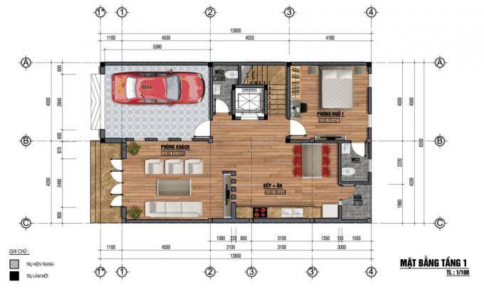 Mặt bằng thiết kế nhà ống 3 tầng mái ngói cách nhiệt -1