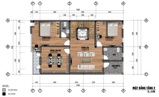 Mặt bằng thiết kế nhà ống 3 tầng mái ngói cách nhiệt -2