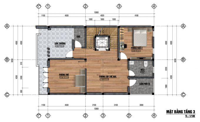 Mặt bằng thiết kế nhà ống 3 tầng mái ngói cách nhiệt -3