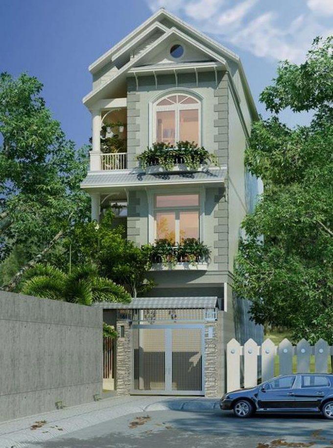 Mặt tiền thiết kế nhà ống 3 tầng mái thái 3 phòng ngủ ở Hải Phòng