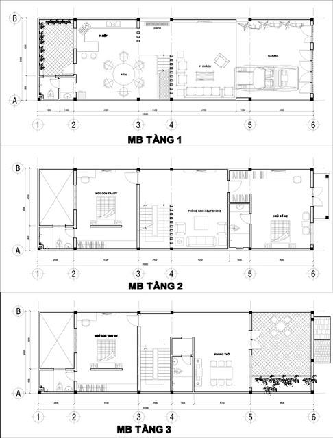 mẫu thiết kế nhà ống 3 tầng sang trọng