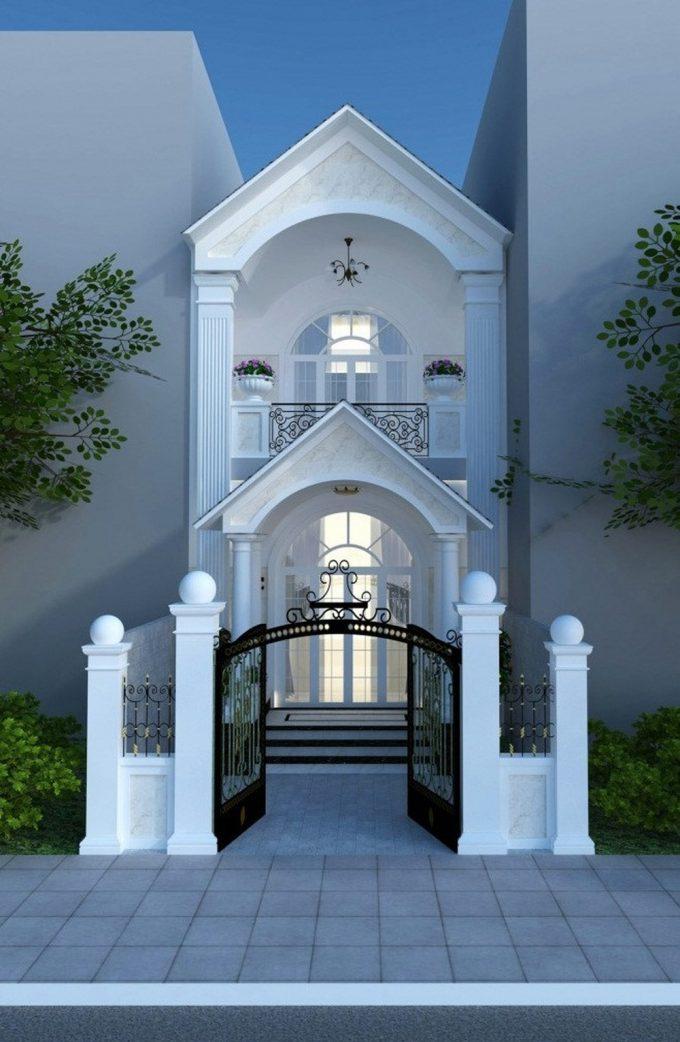 Mẫu thiết kế nhà ống đẹp 2 tầng kiểu Pháp đầy quyến rũ