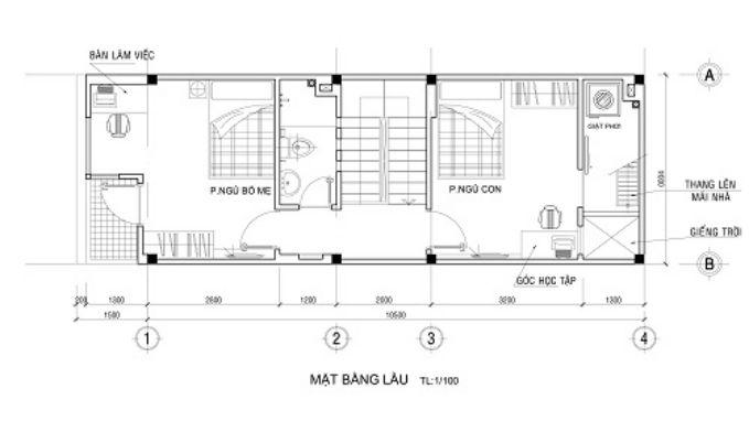 Mặt bằng tầng 2 - nhà ống 2 tầng