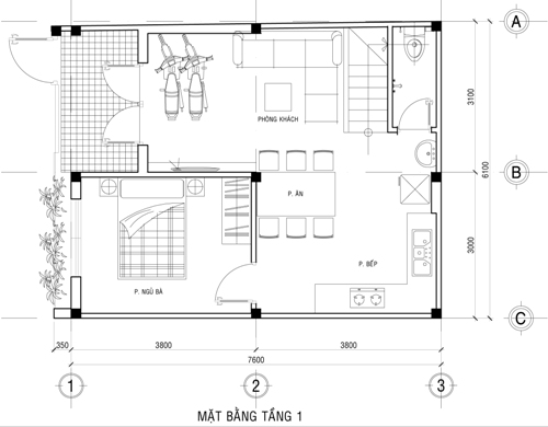 Mặt bằng công năng mẫu thiết kế nhà ống đẹp 2 tầng giá rẻ - 1