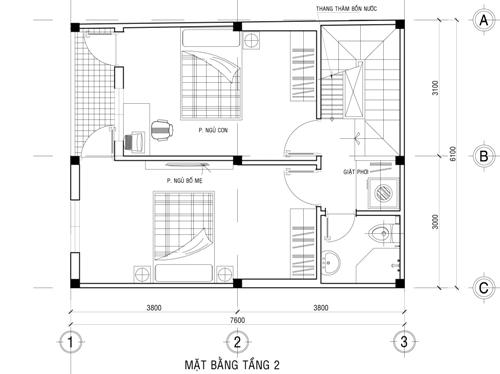Mặt bằng công năng mẫu thiết kế nhà ống đẹp 2 tầng giá rẻ - 2