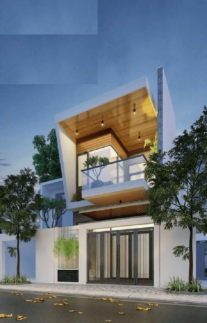 Mặt tiền mẫu thiết kế nhà ống đẹp 2 tầng hiện đại ở Hà Đông