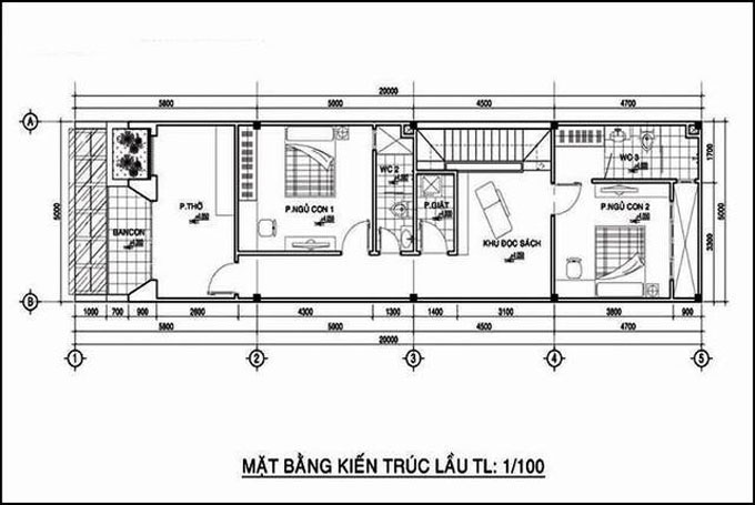 Mặt bằng công năng mẫu thiết kế nhà ống đẹp 2 tầng hiện đại - 1