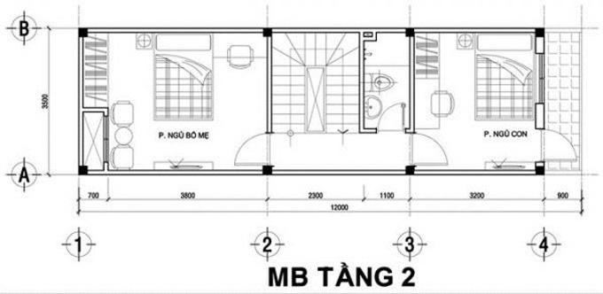 Mặt bằng công năng mẫu thiết kế nhà ống đẹp 2 tầng - 2