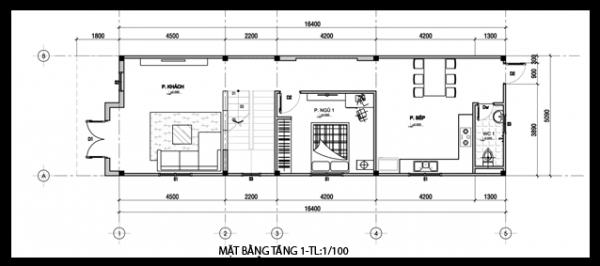 Mặt bằng mẫu thiết kế nhà ống đẹp 2 tầng mái thái - 1