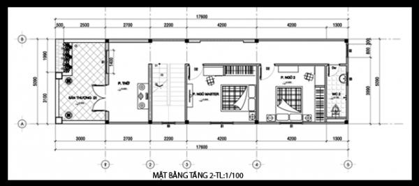 Mặt bằng mẫu thiết kế nhà ống đẹp 2 tầng mái thái - 2