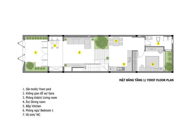 Mặt bằng mẫu thiết kế nhà ống đẹp 2 tầng sang trọng - 1