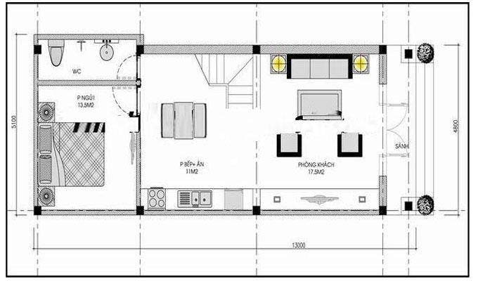 Mặt bằng mẫu thiết kế nhà ống đẹp 2 tầng tân cổ sang trọng - 1