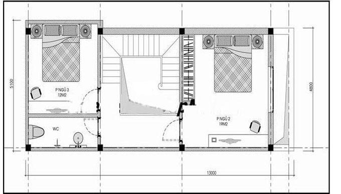 Mặt bằng mẫu thiết kế nhà ống đẹp 2 tầng tân cổ sang trọng - 2