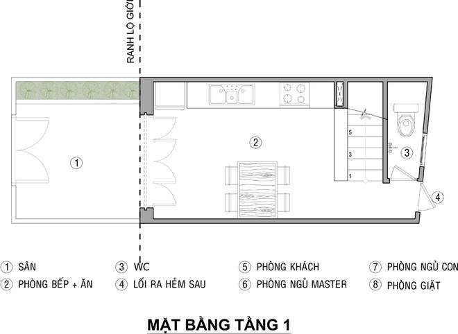 Mặt bằng tầng 1 - mẫu thiết kế nhà ống đẹp 3 tầng 21m2