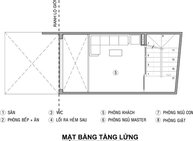 Mặt bằng tầng lửng - mẫu thiết kế nhà ống đẹp 3 tầng 21m2