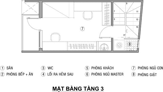 Mặt bằng tầng 3 - mẫu thiết kế nhà ống đẹp 3 tầng 21m2