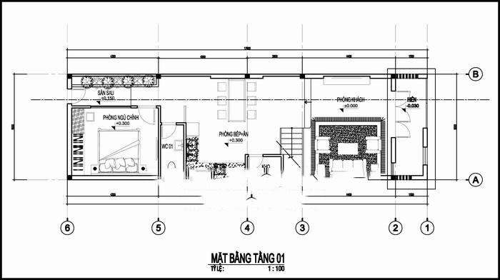 Mẫu thiết kế nhà ống đẹp 3 tầng 5x17m. 1