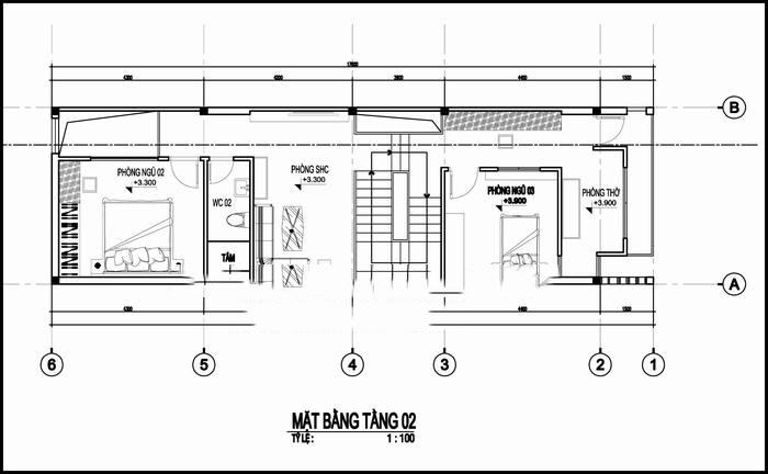 Mẫu thiết kế nhà ống đẹp 3 tầng 5x17m. 2