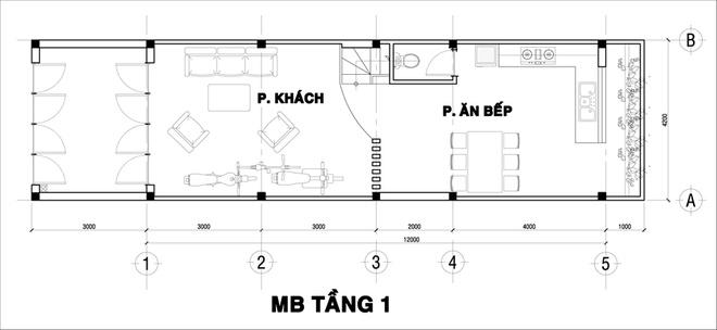 Mặt bằng tầng 1 - mẫu thiết kế nhà ống đẹp 3 tầng độc đáo