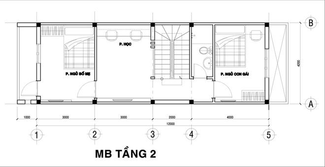 Mặt bằng tầng 2 - mẫu thiết kế nhà ống đẹp 3 tầng độc đáo