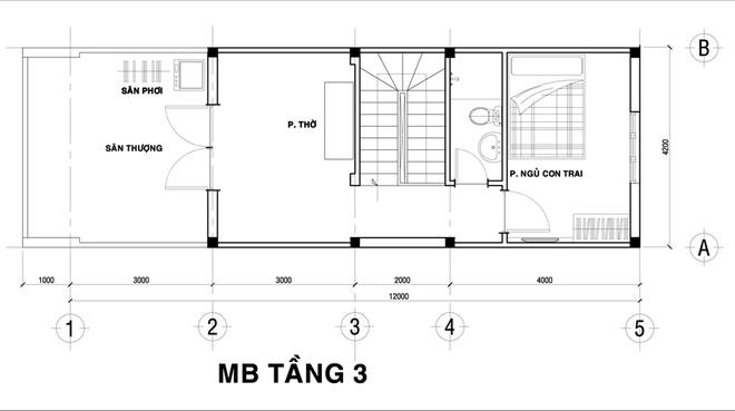 Mặt bằng tầng - mẫu thiết kế nhà ống đẹp 3 tầng độc đáo