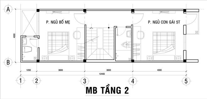 Mặt bằng tầng 2 - mẫu thiết kế nhà ống đẹp 3 tầng hiện đại