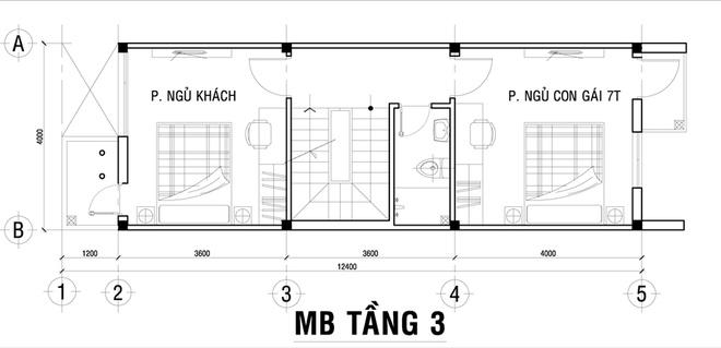Mặt bằng tầng 3 - mẫu thiết kế nhà ống đẹp 3 tầng hiện đại