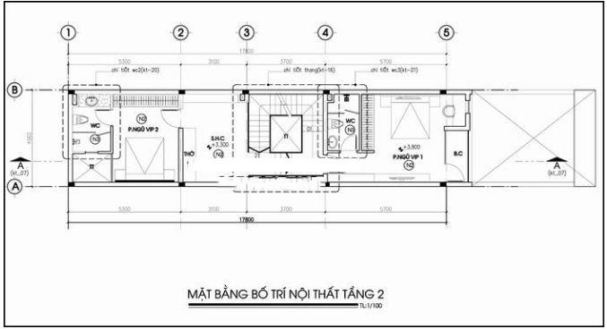 Thiết kế nhà ống 3 tầng có sân trước để ô tô rộng 4,5x17m - MB 2