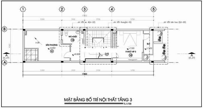 Thiết kế nhà ống 3 tầng có sân trước để ô tô rộng 4,5x17m - MB 3