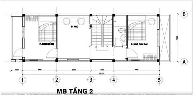 Mẫu thiết kế nhà ống đẹp 3 tầng hiện đại 76m2. 3