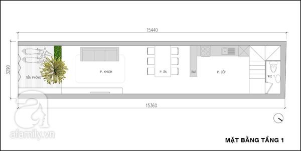 Mặt bằng tầng 1 - mẫu thiết kế nhà ống đẹp 3 tầng tiện nghi