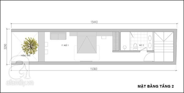 Mặt bằng tầng 2 - mẫu thiết kế nhà ống đẹp 3 tầng tiện nghi