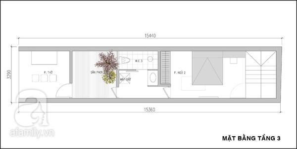 Mặt bằng tầng 3 - mẫu thiết kế nhà ống đẹp 3 tầng tiện nghi