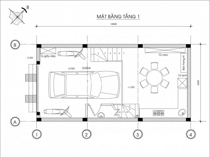Mặt bằng công năng mẫu thiết kế nhà ống đẹp 4 tầng - 1