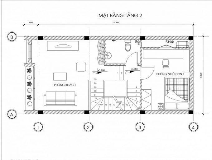 Mặt bằng công năng mẫu thiết kế nhà ống đẹp 4 tầng - 2