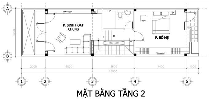 Mặt bằng công năng mẫu thiết kế nhà ống đẹp 4 tầng- 2