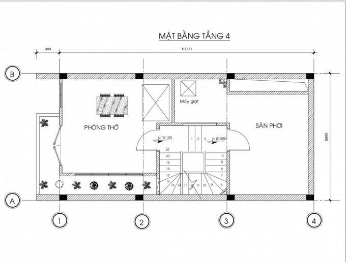 Mặt bằng công năng mẫu thiết kế nhà ống đẹp 4 tầng - 4