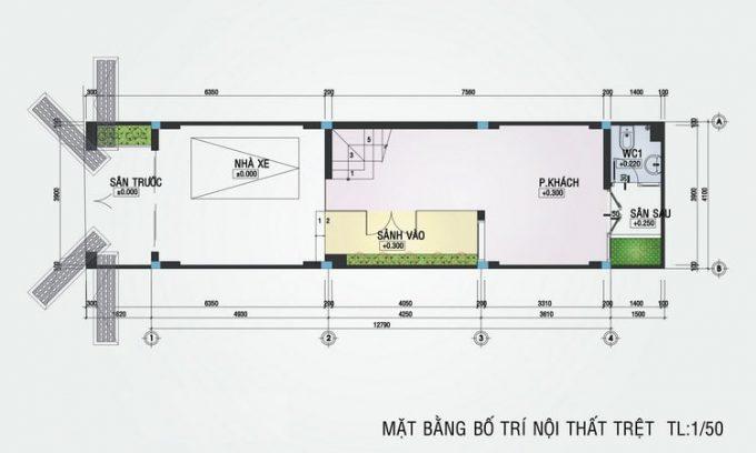 Mặt bằng mẫu thiết kế nhà ống đẹp 4 tầng nhỏ - 1