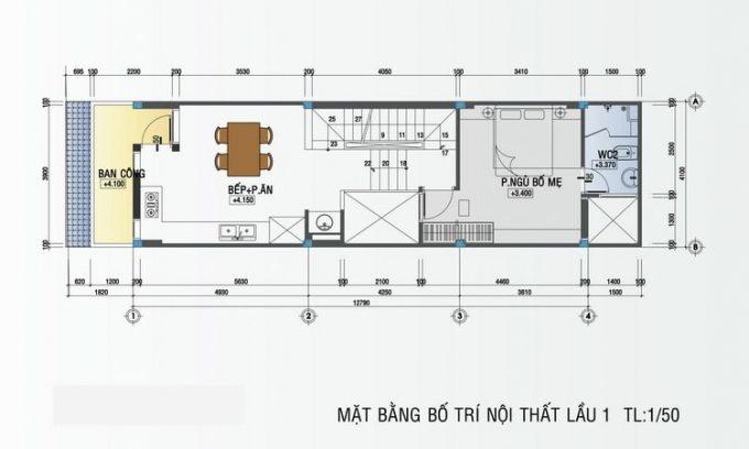 Mặt bằng mẫu thiết kế nhà ống đẹp 4 tầng nhỏ - 2
