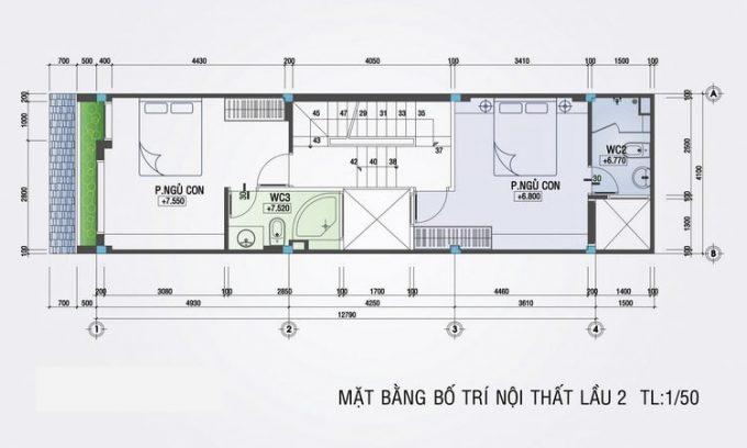 Mặt bằng mẫu thiết kế nhà ống đẹp 4 tầng nhỏ - 3